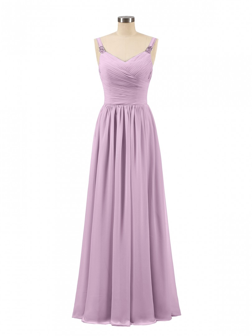 A-line Chiffon Pool Zipper Beaded, Ruched, Pleated Floor-length V-neck Spaghetti Straps Long Bridesmaid Dresses