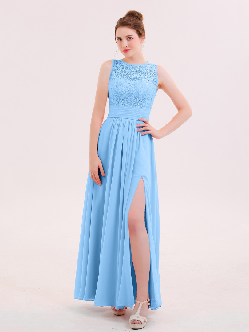 A-line Chiffon Flamingo Zipper Lace Floor-length Scoop Sleeveless Prom Dresses