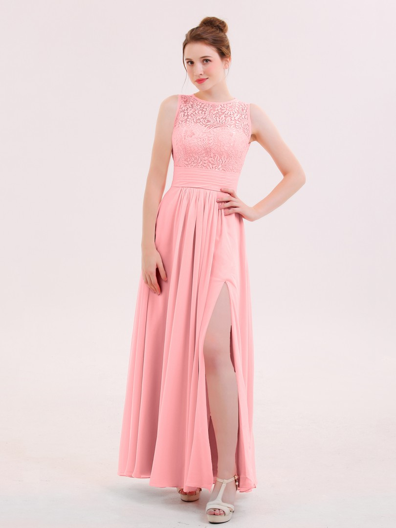 A-line Chiffon Flamingo Zipper Lace Floor-length Scoop Sleeveless Chiffon Bridesmaid Dresses