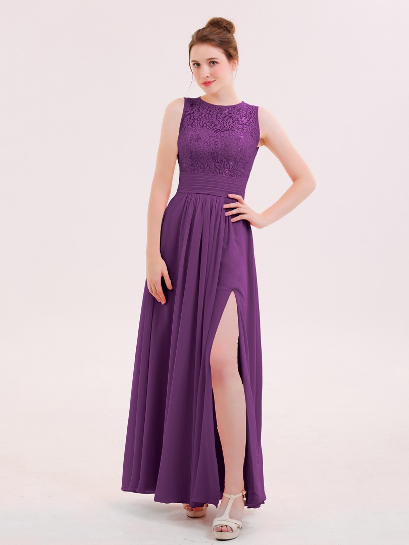 0a9fa061b693 A-line Chiffon Flamingo Zipper Lace Floor-length Scoop Sleeveless Bridesmaid  Dresses