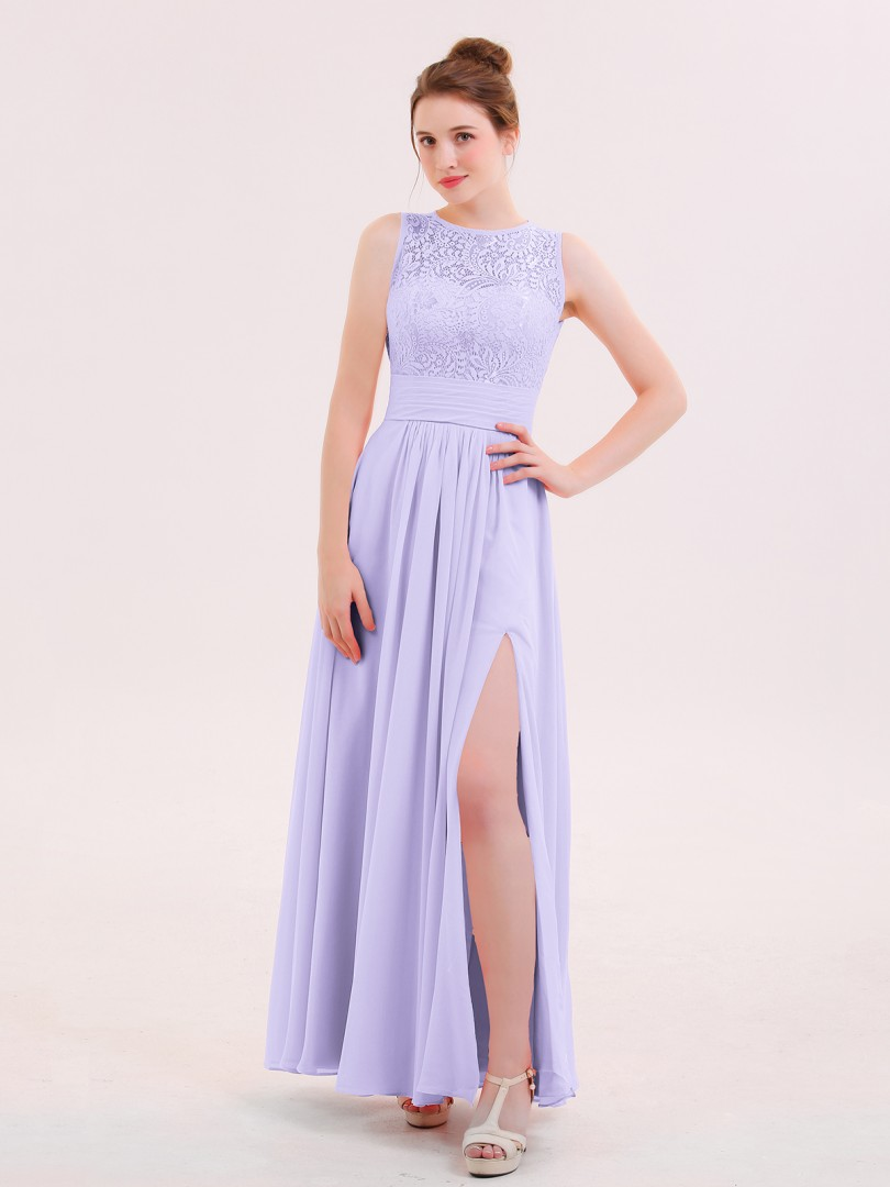 0ed9a3257ce8 A-line Chiffon Flamingo Zipper Lace Floor-length Scoop Sleeveless Long Bridesmaid  Dresses