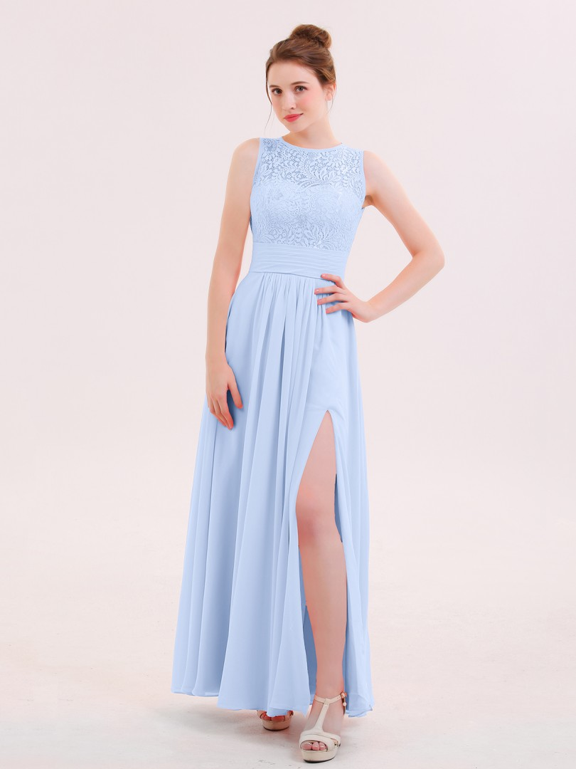 A-line Chiffon Flamingo Zipper Lace Floor-length Scoop Sleeveless Long Bridesmaid Dresses