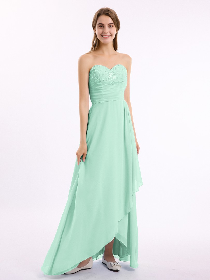 A-line Chiffon Stormy Zipper Beaded, Pleated Floor-length Sweetheart Sleeveless Long Bridesmaid Dresses