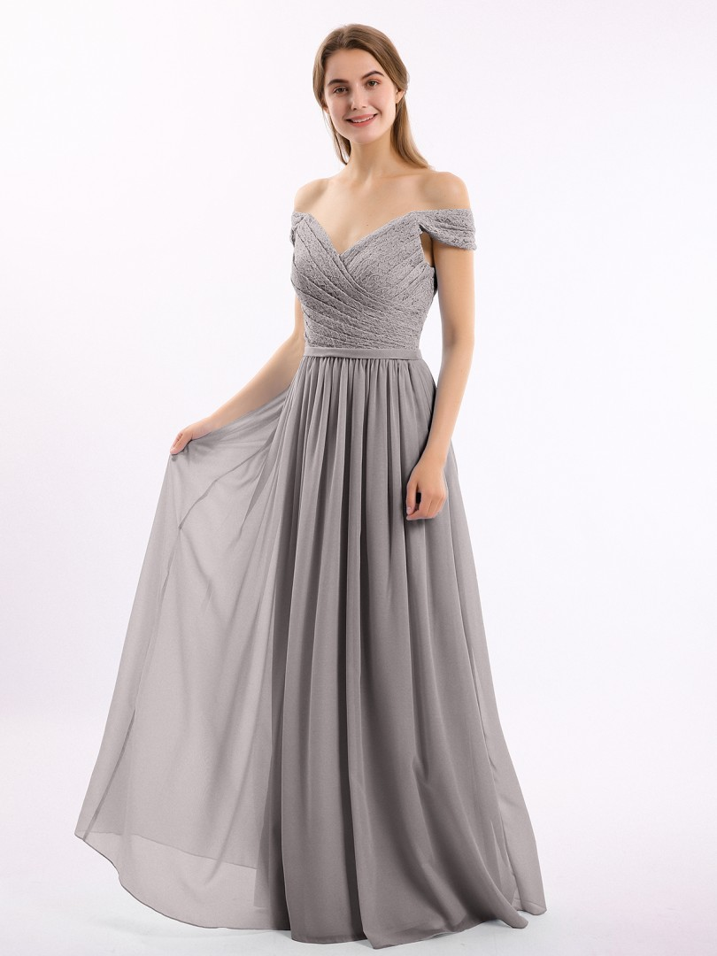 A-line Chiffon Wisteria Zipper Belt, Ruffle, Lace Floor-length Off-the-shoulder Short Long Bridesmaid Dresses