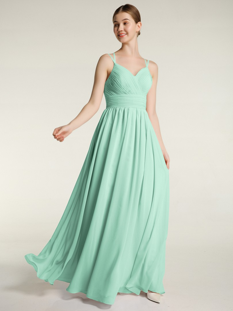 A-line Chiffon Mint Green Zipper Ruched, Pleated Floor-length Sweetheart Spaghetti Straps Bridesmaid Dresses