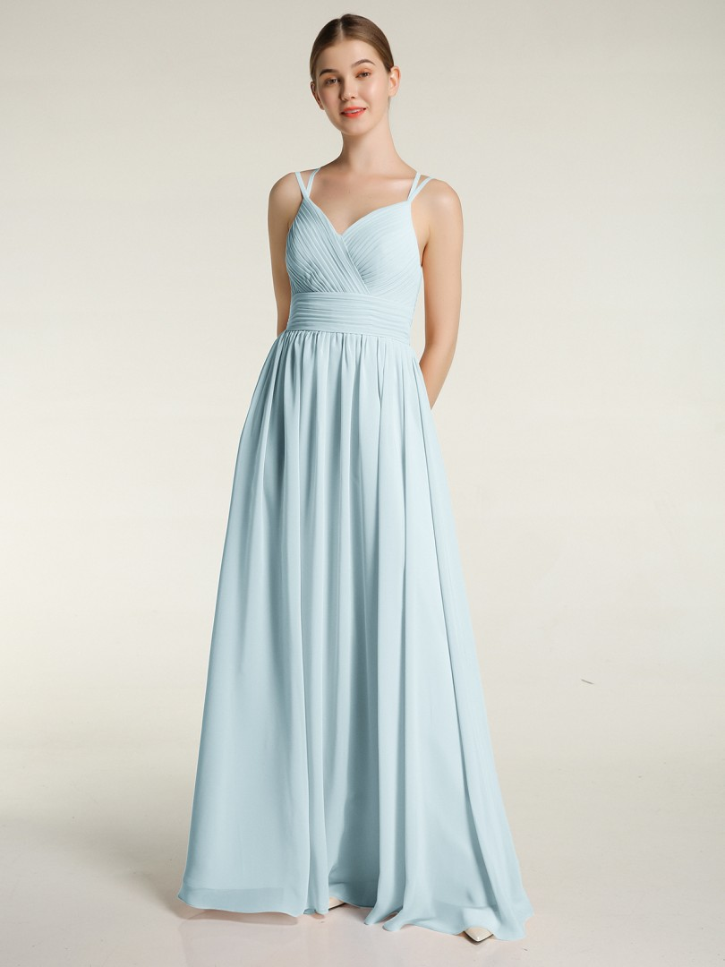 A-line Chiffon Wisteria Zipper Ruched, Pleated Floor-length Sweetheart Spaghetti Straps New Arrivals