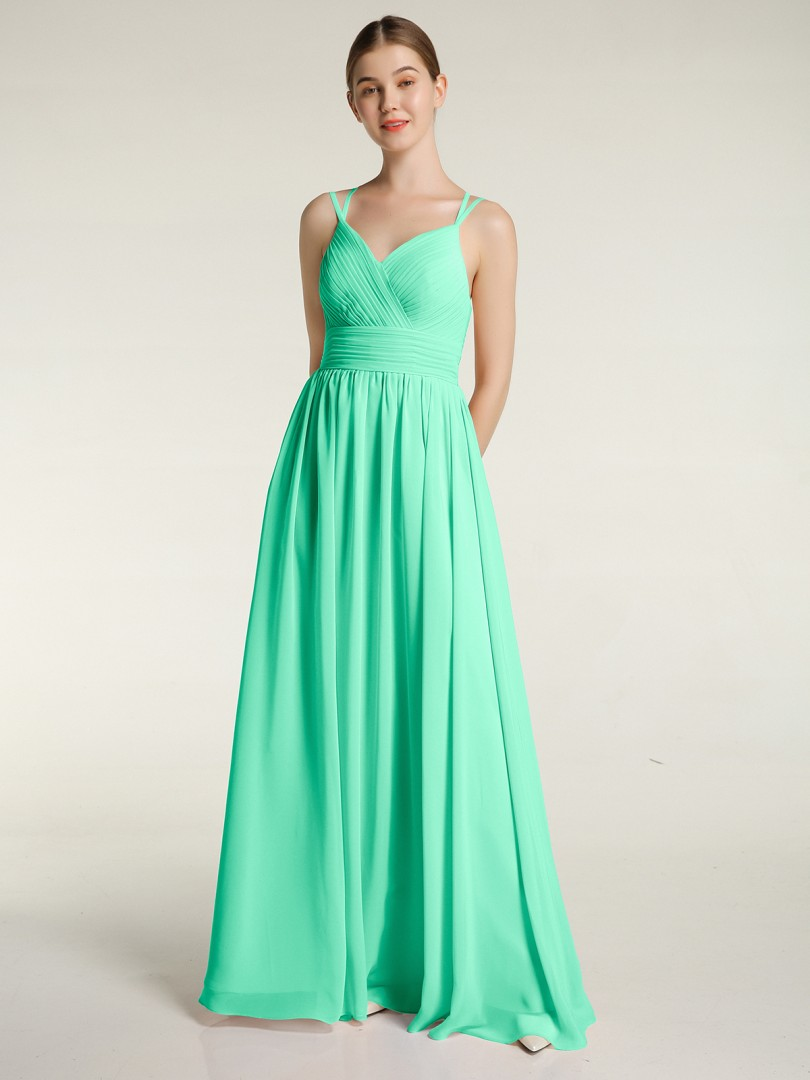 A-line Chiffon Wisteria Zipper Ruched, Pleated Floor-length Sweetheart Spaghetti Straps Bridesmaid Dresses
