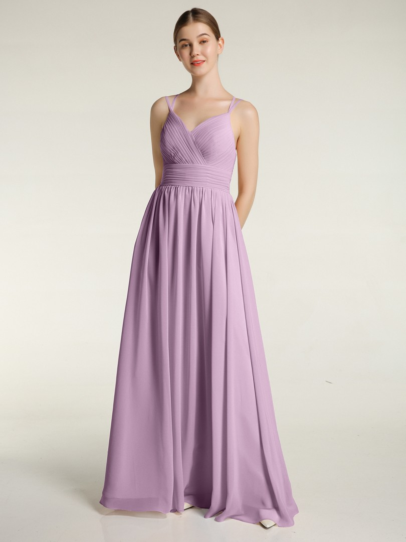 A-line Chiffon Wisteria Zipper Ruched, Pleated Floor-length Sweetheart Spaghetti Straps Chiffon Bridesmaid Dresses
