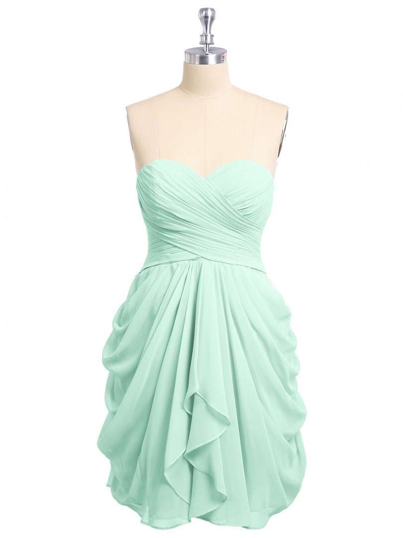 Empire Chiffon Mint Green Lace-up Ruched, Pleated Short/Mini Sweetheart Sleeveless Short Bridesmaid Dresses