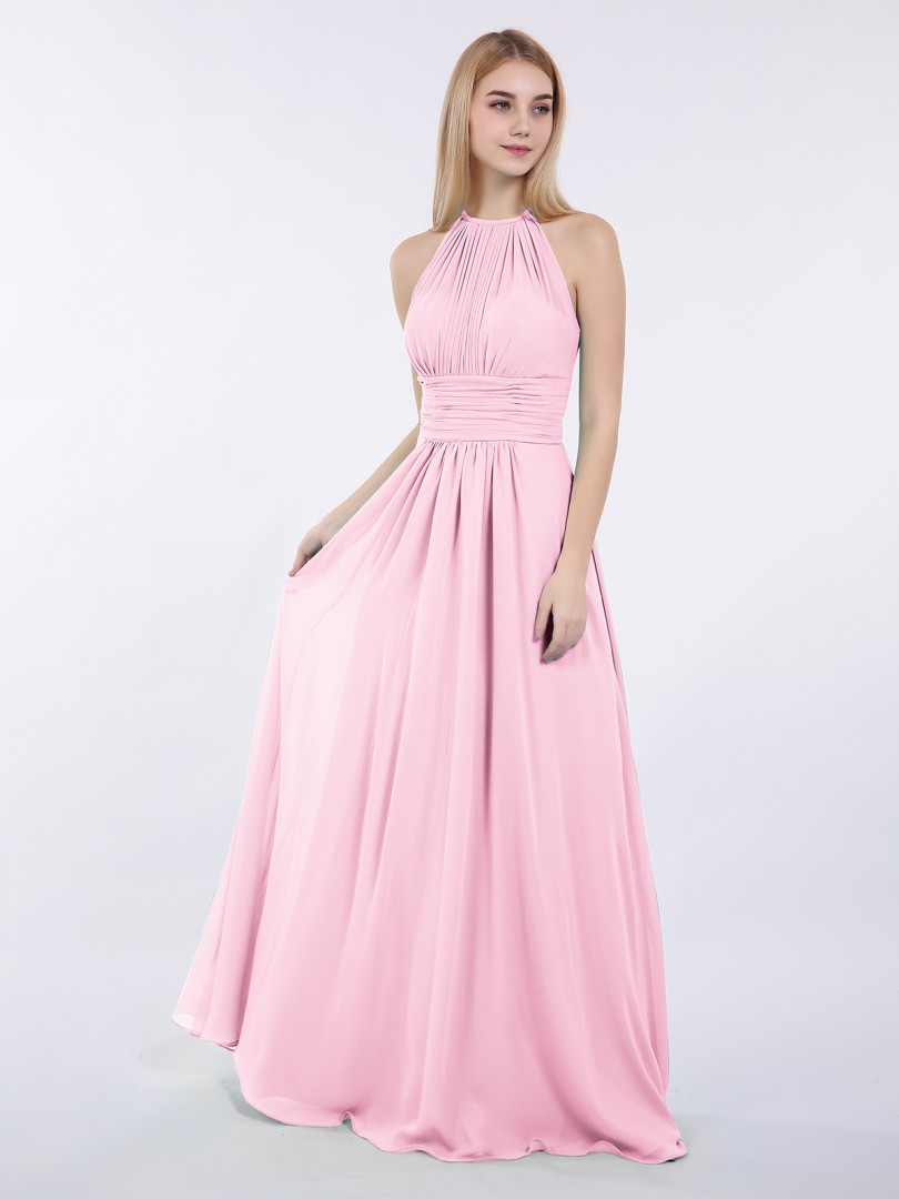 A-line Chiffon Wisteria Zipper Ruched, Pleated Floor-length Halter Sleeveless Bridesmaid Dresses