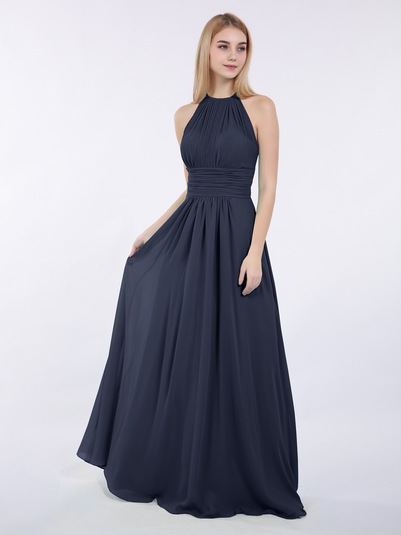 A-line Chiffon Wisteria Zipper Ruched, Pleated Floor-length Halter Sleeveless Long Bridesmaid Dresses