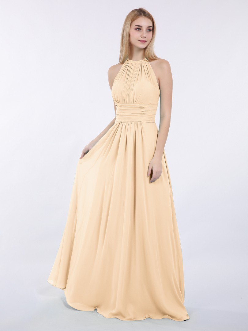 A-line Chiffon Wisteria Zipper Ruched, Pleated Floor-length Halter Sleeveless New Arrivals