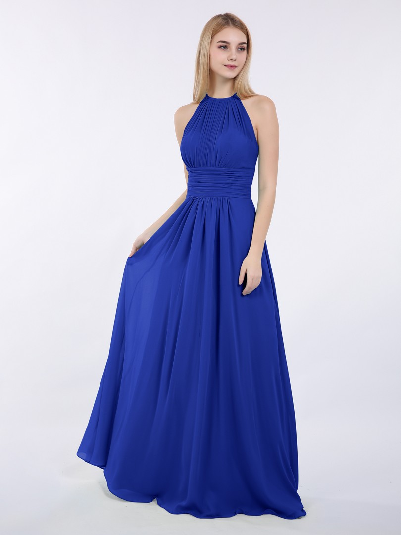 Royal Blue Doris Halter Chiffon Maxi