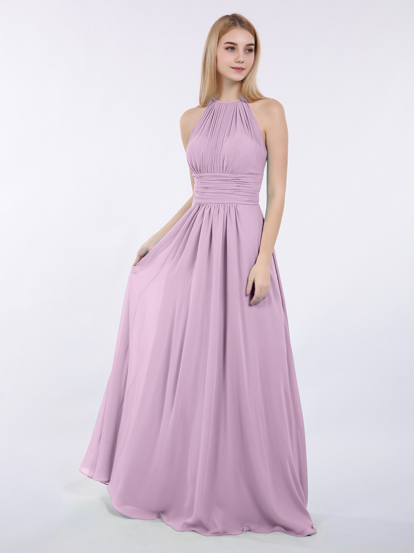 A-line Chiffon Wisteria Zipper Ruched, Pleated Floor-length Halter Sleeveless Chiffon Bridesmaid Dresses