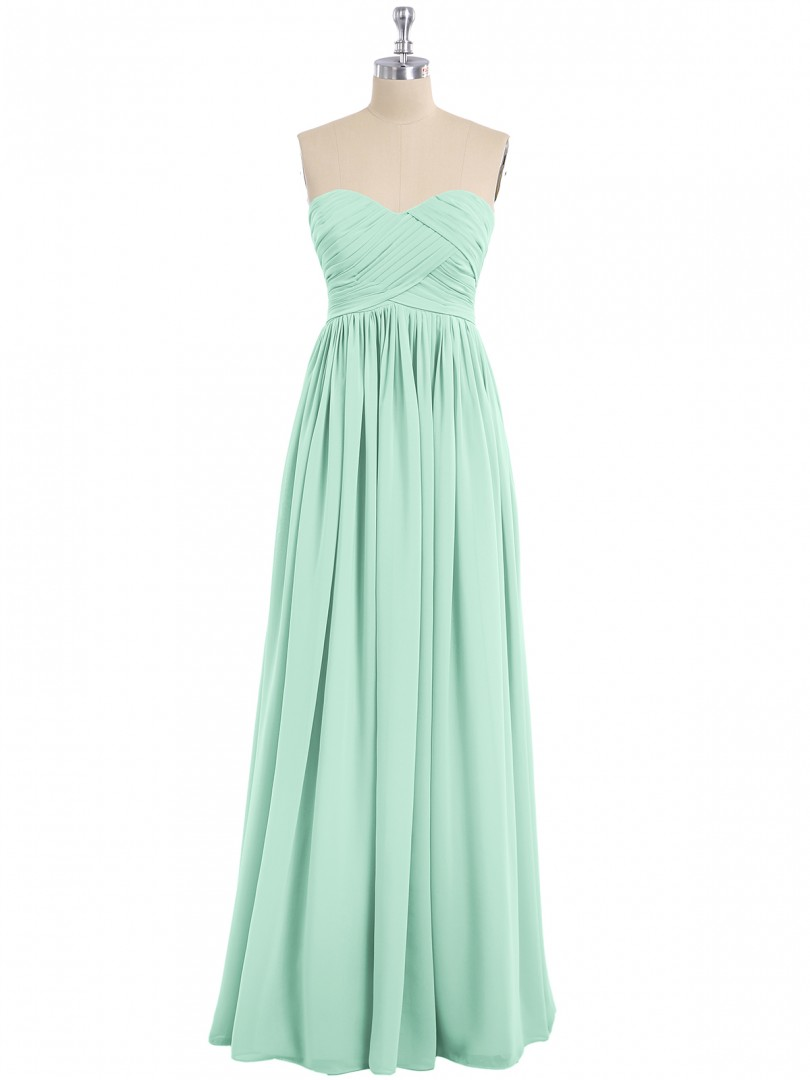 Empire Chiffon Spa Zipper Ruched, Pleated Floor-length Sweetheart Sleeveless Long Bridesmaid Dresses