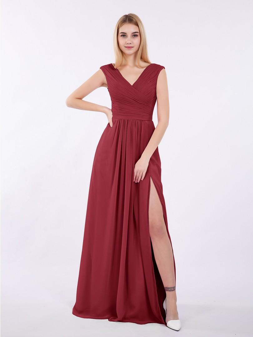A-line Chiffon Wisteria Zipper Ruched, Pleated Floor-length V-neck Cap Sleeve Long Bridesmaid Dresses