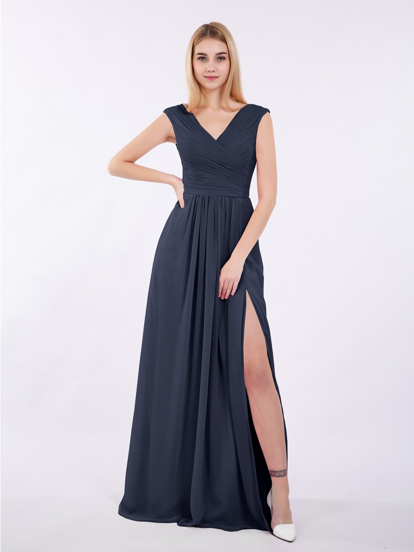 A-line Chiffon Wisteria Zipper Ruched, Pleated Floor-length V-neck Cap Sleeve New Arrivals
