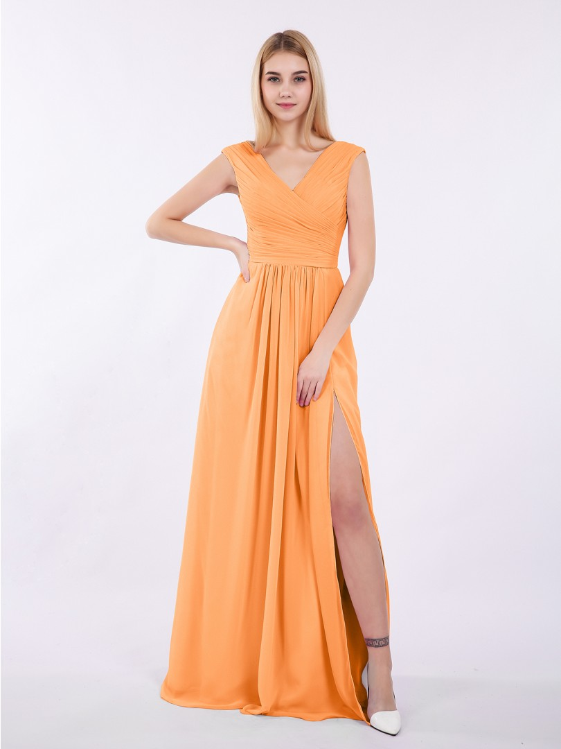 A-line Chiffon Wisteria Zipper Ruched, Pleated Floor-length V-neck Cap Sleeve Bridesmaid Dresses