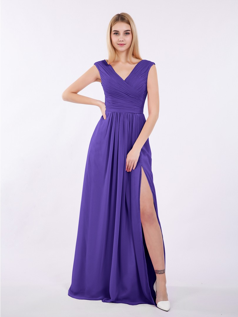 A-line Chiffon Wisteria Zipper Ruched, Pleated Floor-length V-neck Cap Sleeve Chiffon Bridesmaid Dresses