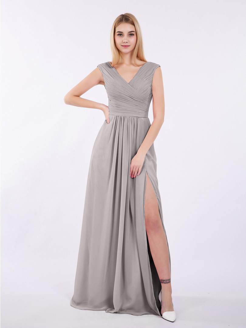 Silver Eartha V Neck Chiffon Gown with Cap Sleeves  BABARONI