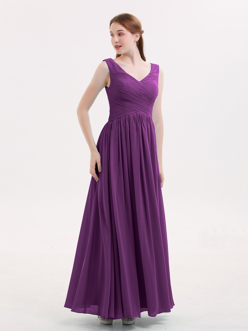 66b68b365635 Grape Easter V Neck Maxi Chiffon Dresses with Ziper Back | BABARONI