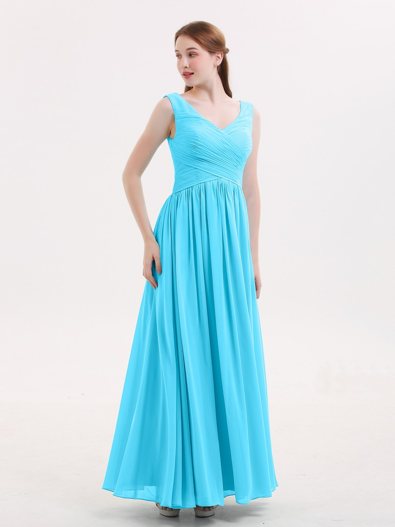 Empire Chiffon Pool Zipper Ruched, Pleated Floor-length V-neck Sleeveless Chiffon Bridesmaid Dresses