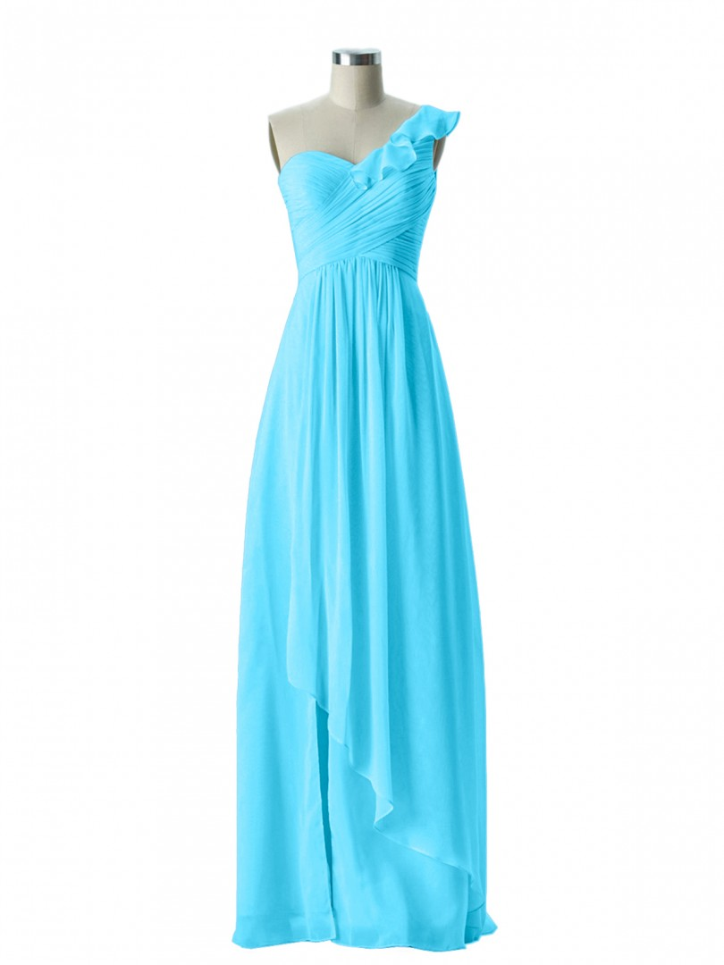 A-line Chiffon Tangerine Zipper Ruffle, Ruched, Pleated Floor-length One Shoulder Sleeveless Long Bridesmaid Dresses