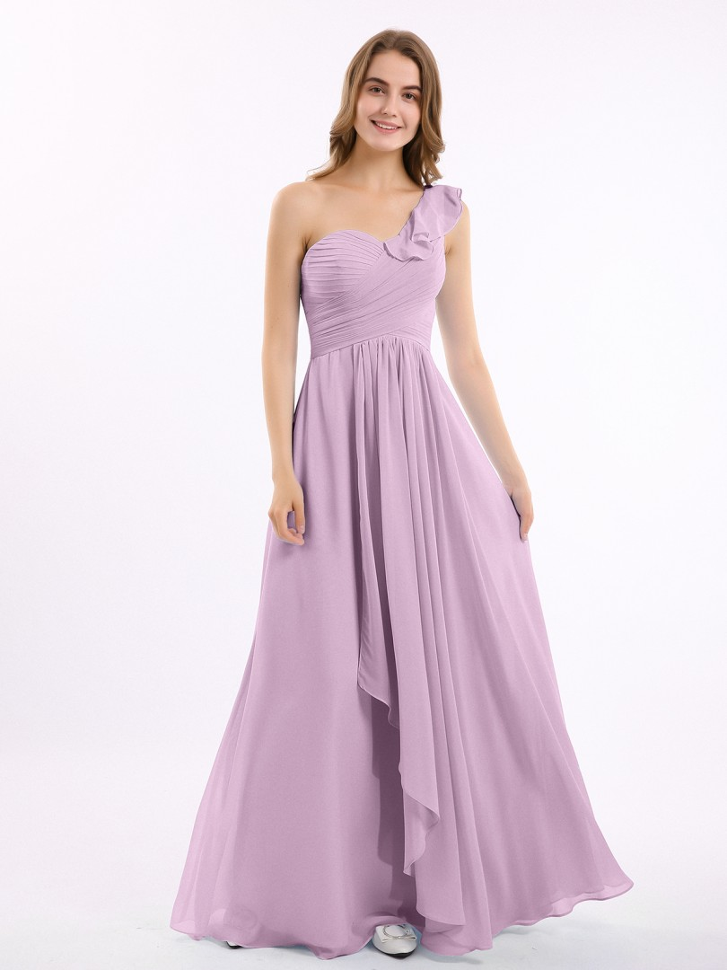 A-line Chiffon Dusty Sage Zipper Ruffle, Ruched, Pleated Floor-length One Shoulder Sleeveless Long Bridesmaid Dresses