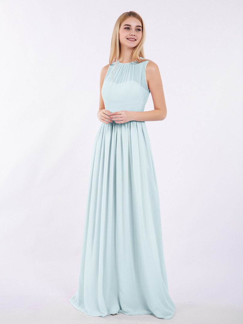 A-line Chiffon Candy Pink Zipper Ruched Floor-length Halter Sleeveless Long Bridesmaid Dresses