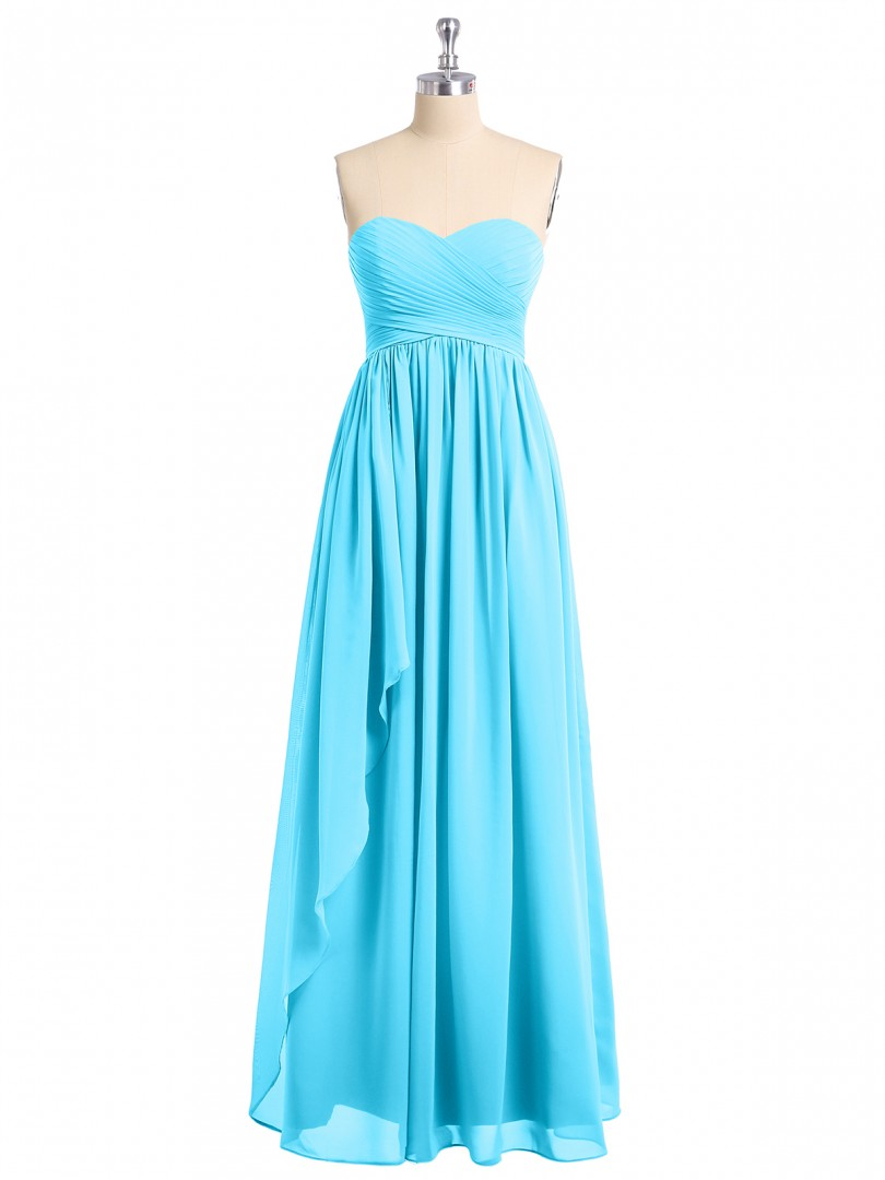 Empire Chiffon Watermelon Zipper Ruched, Pleated Floor-length Sweetheart Sleeveless New Arrivals
