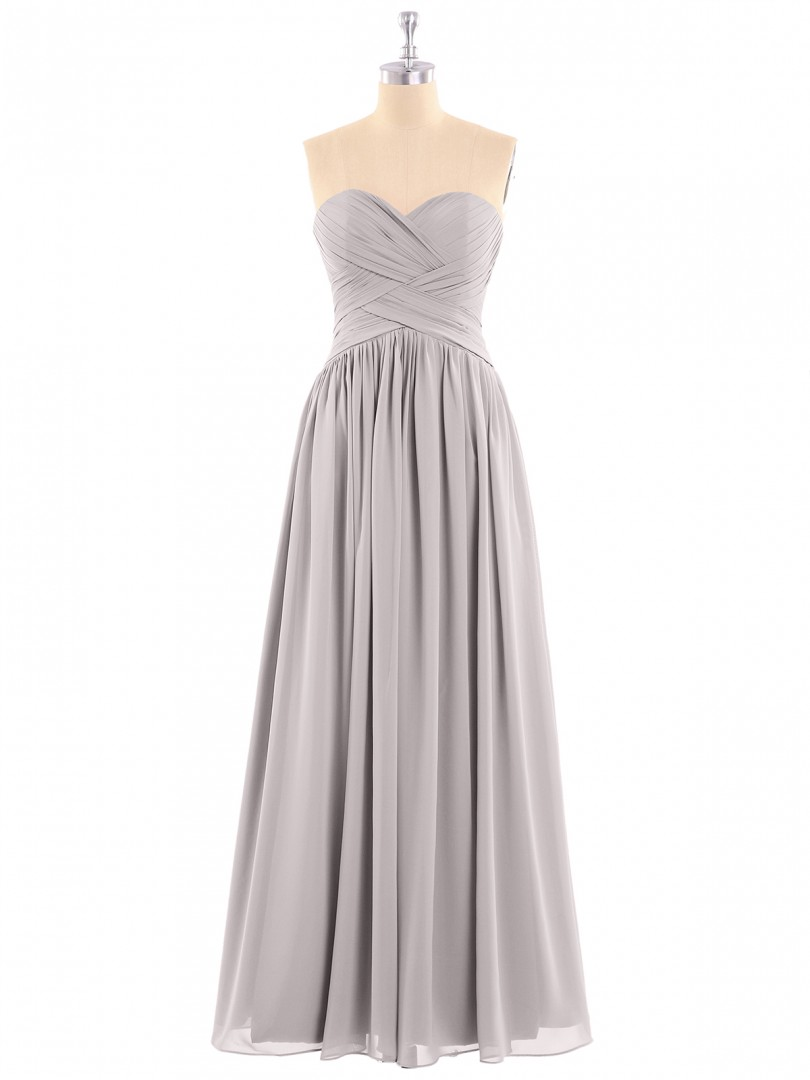 A-line Chiffon Watermelon Zipper Ruched, Pleated Floor-length Sweetheart Sleeveless Long Bridesmaid Dresses