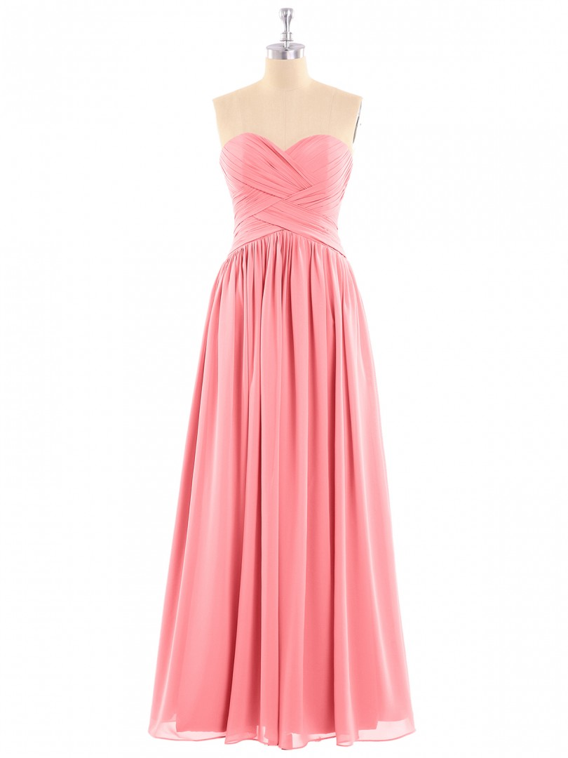 A-line Chiffon Watermelon Zipper Ruched, Pleated Floor-length Sweetheart Sleeveless Bridesmaid Dresses