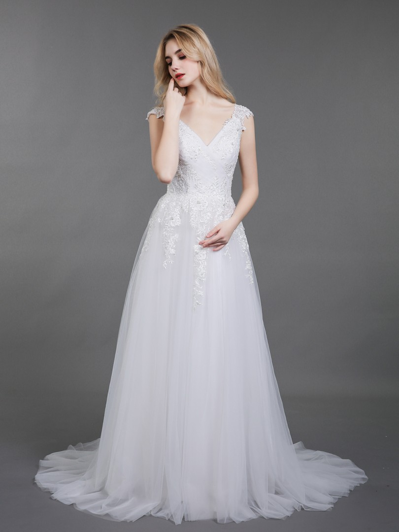A-line Tulle Ivory Backless Appliqued, Beaded, Pleated Sweep/Brush Train V-neck Short Lace Wedding Dresses