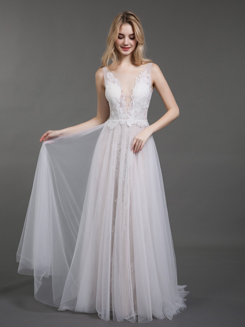 A-line Tulle Ivory Zipper Lace Sweep/Brush Train Scoop Sleeveless Lace Wedding Dresses