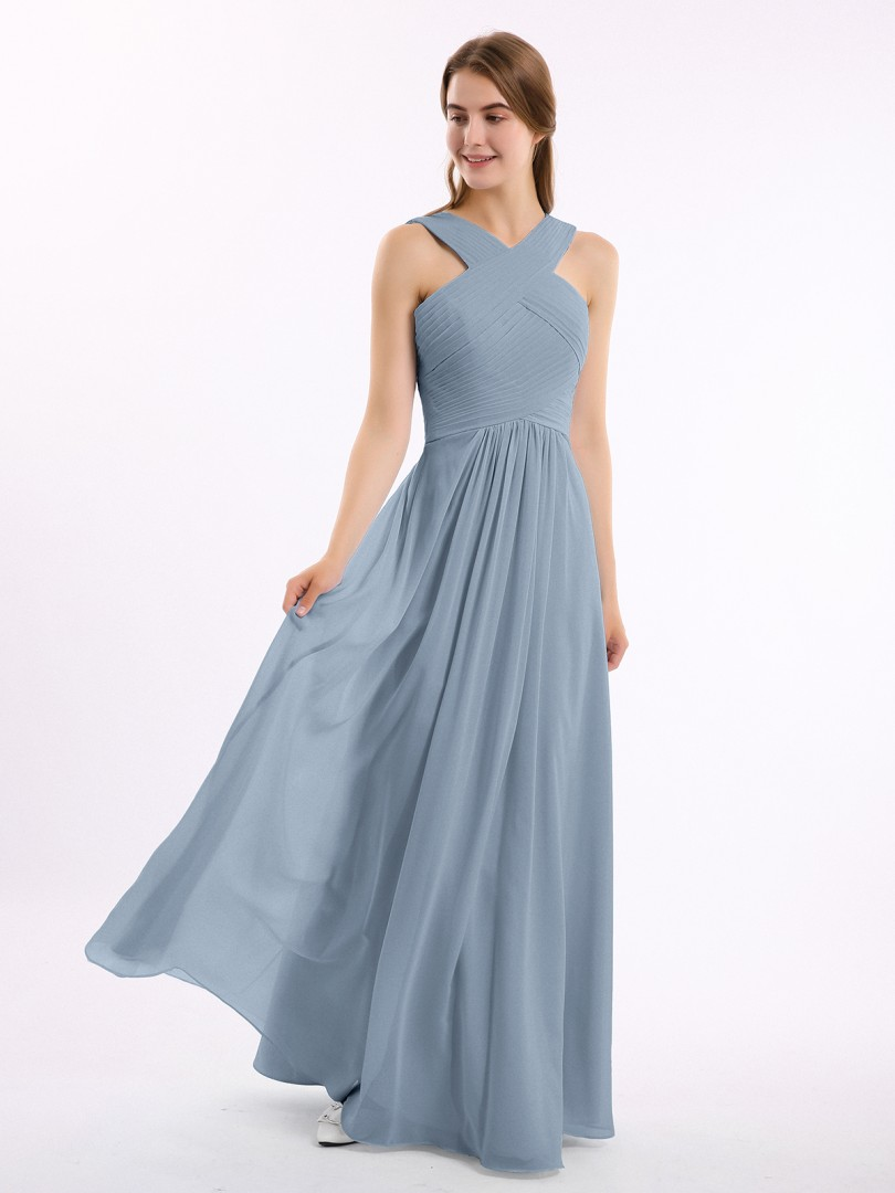 Empire Chiffon Royal Blue Zipper Ruched, Pleated Floor-length Scoop Sleeveless Long Bridesmaid Dresses