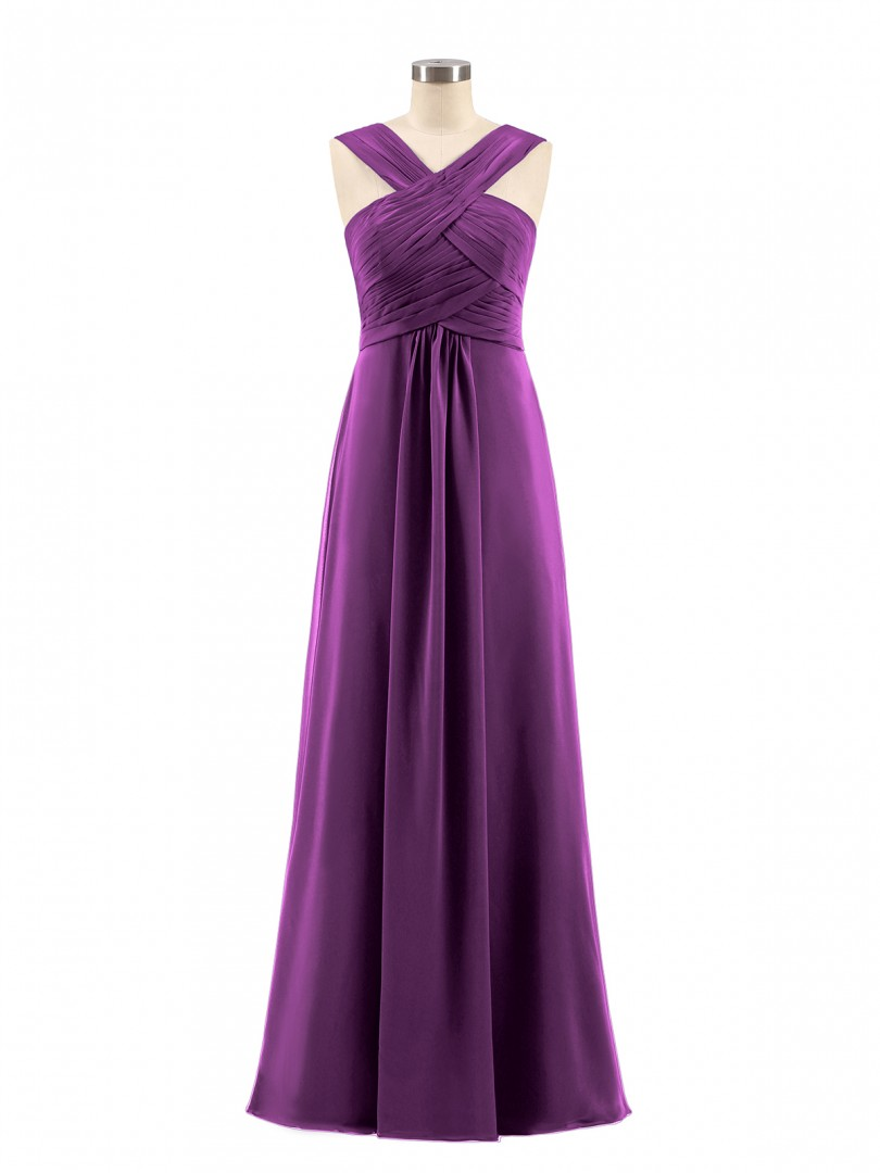 Empire Chiffon Grape Zipper Ruched, Pleated Floor-length Scoop Sleeveless Bridesmaid Dresses