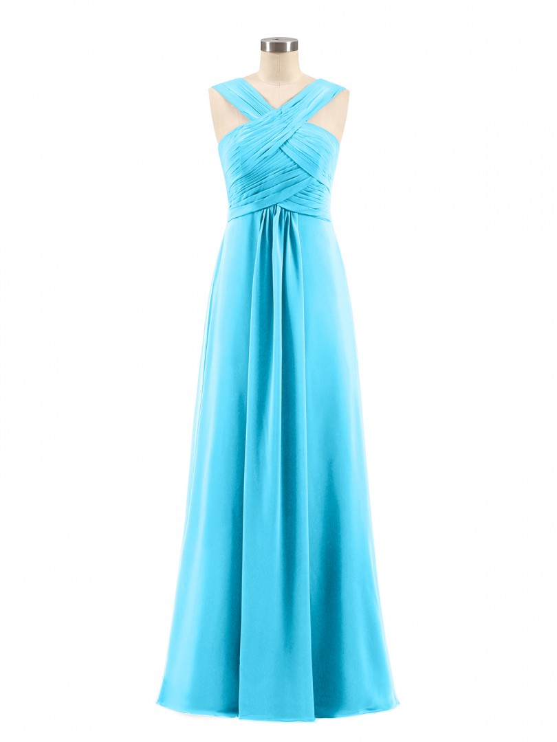 Empire Chiffon Grape Zipper Ruched, Pleated Floor-length Scoop Sleeveless Long Bridesmaid Dresses
