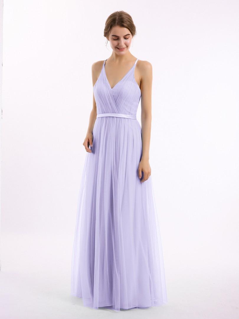 A-line Tulle Lilac Backless Ruffle, Lace Floor-length V-neck Sleeveless Long Bridesmaid Dresses