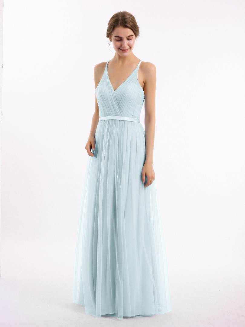 A-line Tulle Lilac Backless Ruffle, Lace Floor-length V-neck Sleeveless New Arrivals
