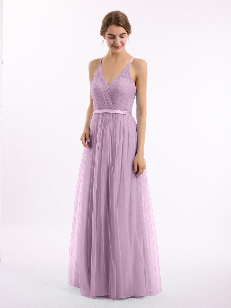 A-line Tulle Lilac Backless Ruffle, Lace Floor-length V-neck Sleeveless Tulle Bridesmaid Dresses
