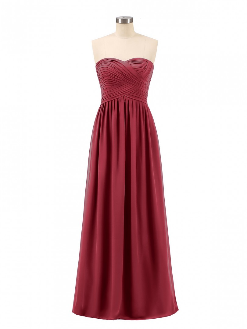 A-line Chiffon Burgundy Zipper Ruched, Pleated Floor-length Sweetheart Sleeveless Chiffon Bridesmaid Dresses