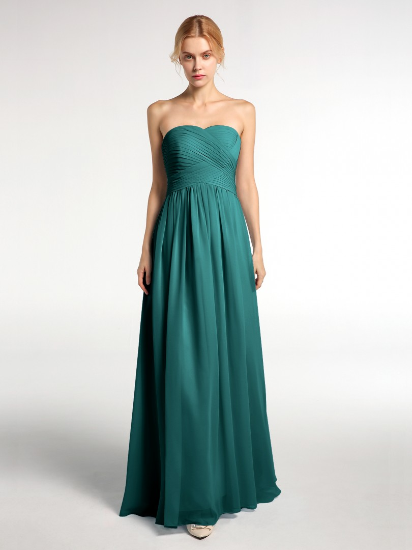 A-line Chiffon Peacock Zipper Ruched, Pleated Floor-length Sweetheart Sleeveless Long Bridesmaid Dresses