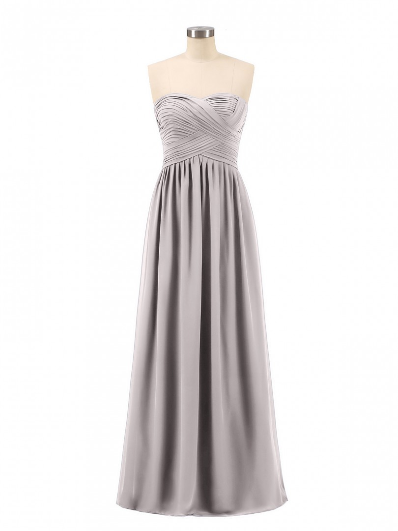 A-line Chiffon Burgundy Zipper Ruched, Pleated Floor-length Sweetheart Sleeveless Long Bridesmaid Dresses