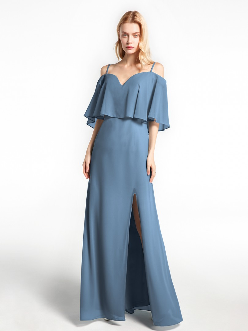 A-line Chiffon Slate Blue Zipper  Floor-length No Spaghetti Straps New Arrivals