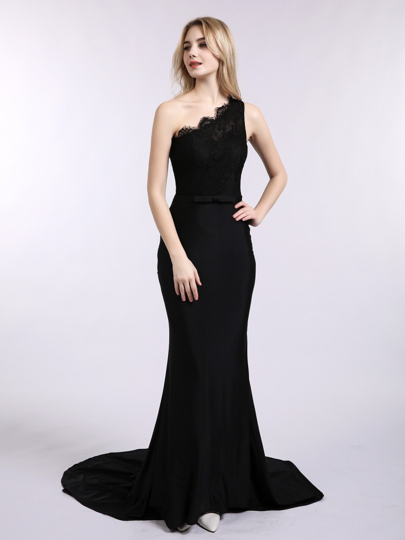 Trumpet/Mermaid Jersey Black Zipper Side Bow, Sash Sweep/Brush Train One Shoulder Sleeveless Mermaid Prom Dresses