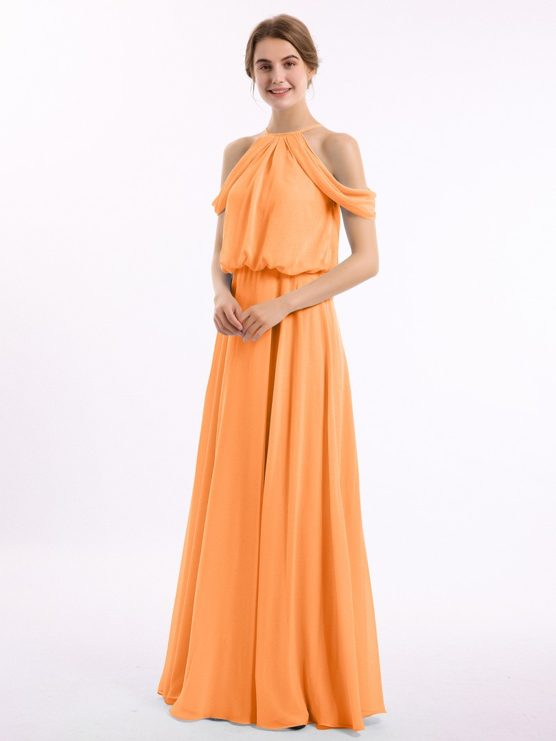 A-line Chiffon Orange Zipper Ruched Floor-length Off-the-shoulder Short Long Bridesmaid Dresses