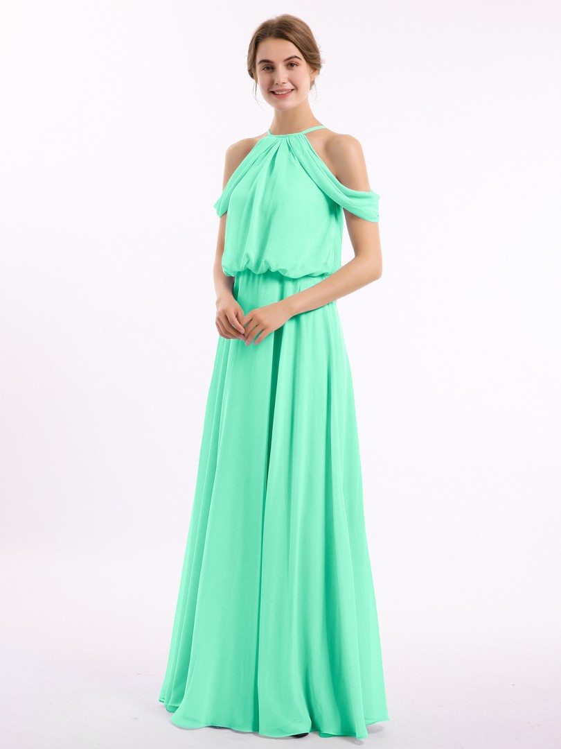 A-line Chiffon Orange Zipper Ruched Floor-length Off-the-shoulder Short New Arrivals