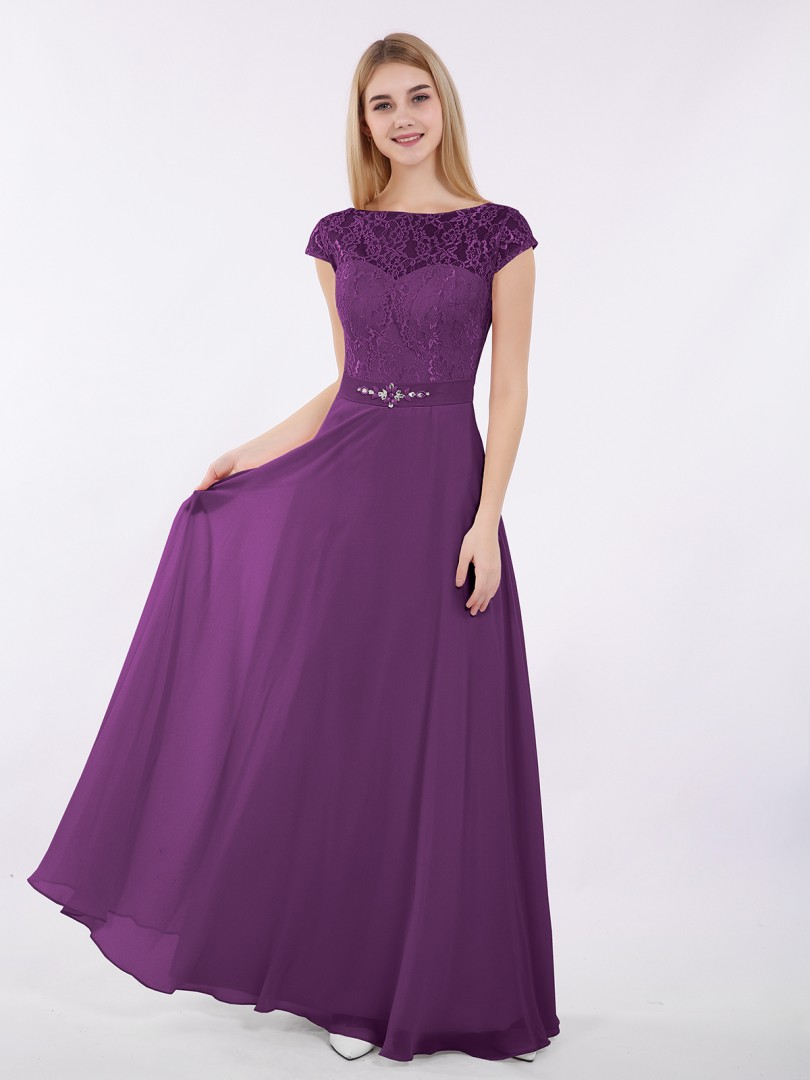 A-line Chiffon Grape Zipper Beaded, Sash Floor-length Bateau Cap Sleeve Lace Bridesmaid Dresses