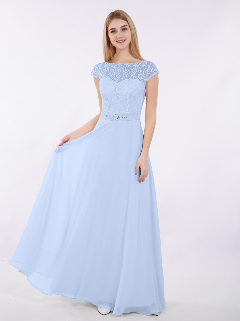 A-line Chiffon Grape Zipper Beaded, Sash Floor-length Bateau Cap Sleeve New Arrivals