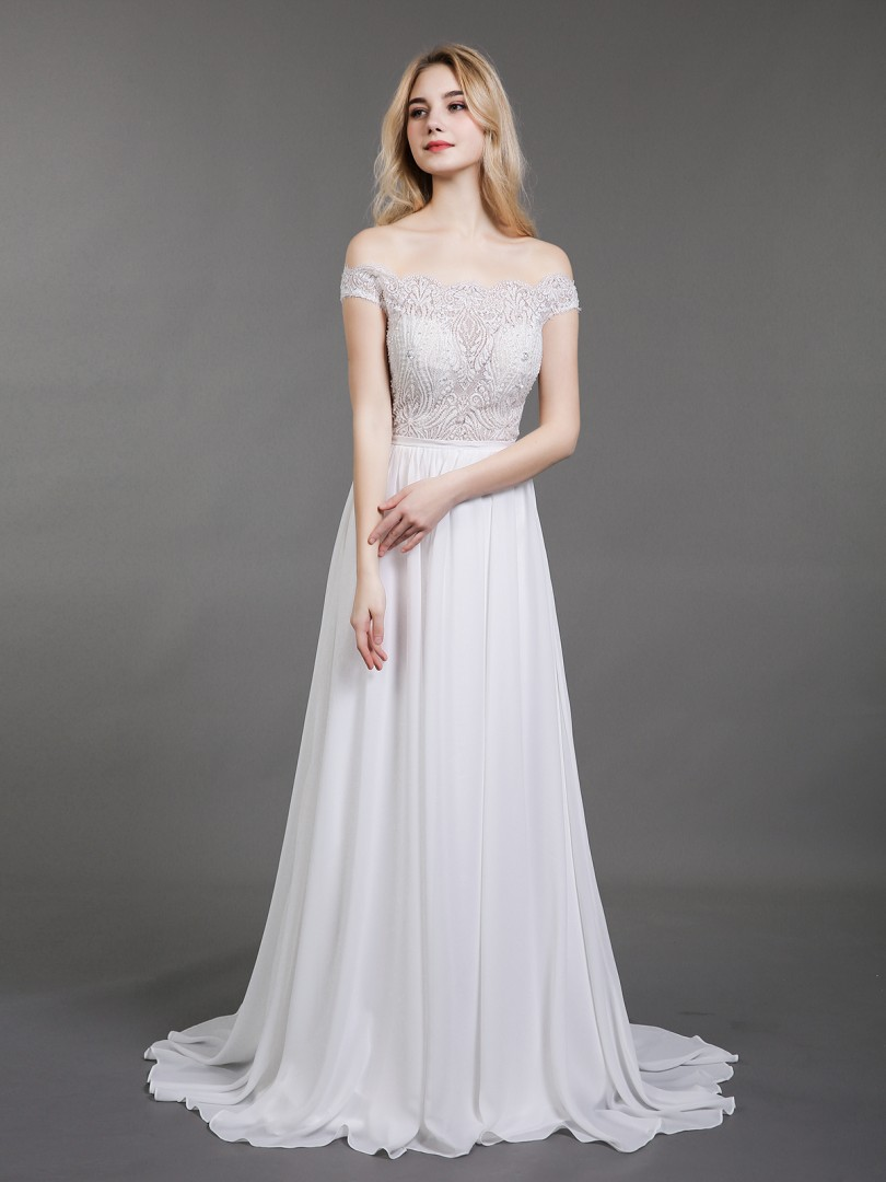 A-line Chiffon Ivory Zipper Beaded Sweep/Brush Train Off-the-shoulder Short Beach Wedding Dresses